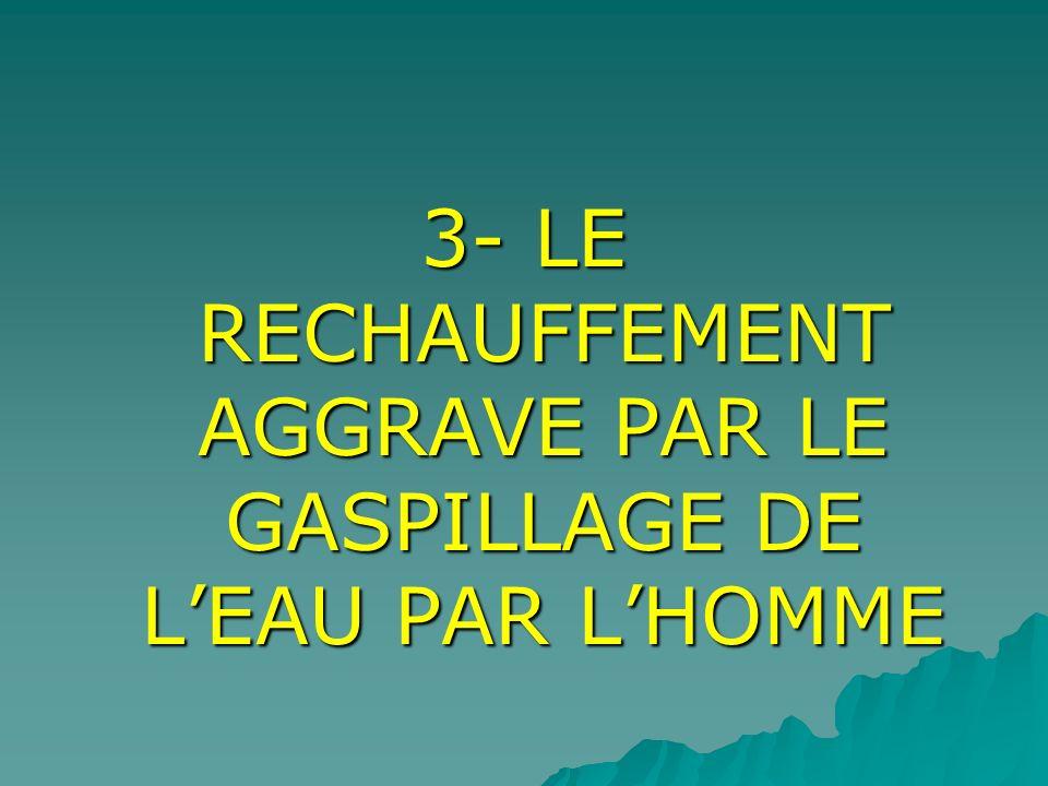 3- LE RECHAUFFEMENT AGGRAVE PAR LE GASPILLAGE DE L'EAU PAR L'HOMME