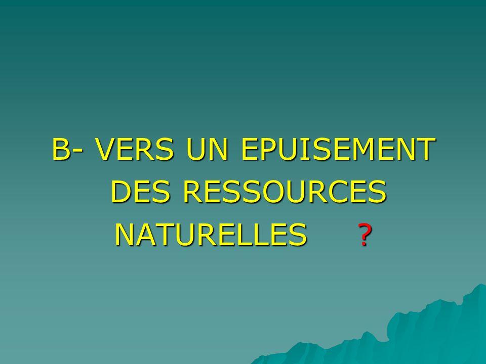 B- VERS UN EPUISEMENT DES RESSOURCES NATURELLES
