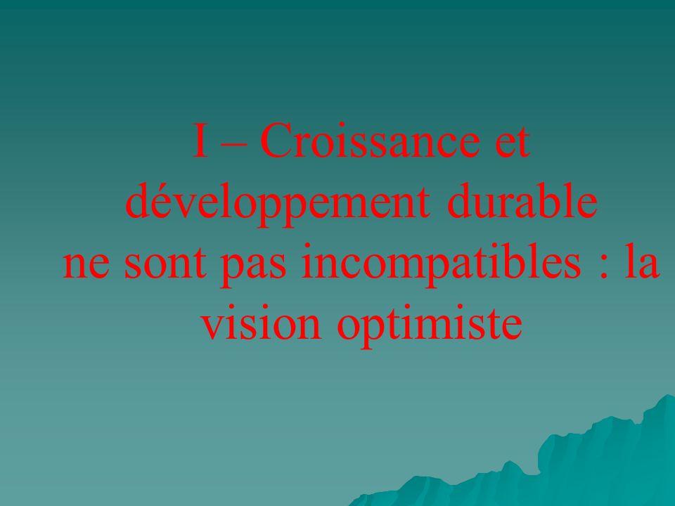 I – Croissance et développement durable