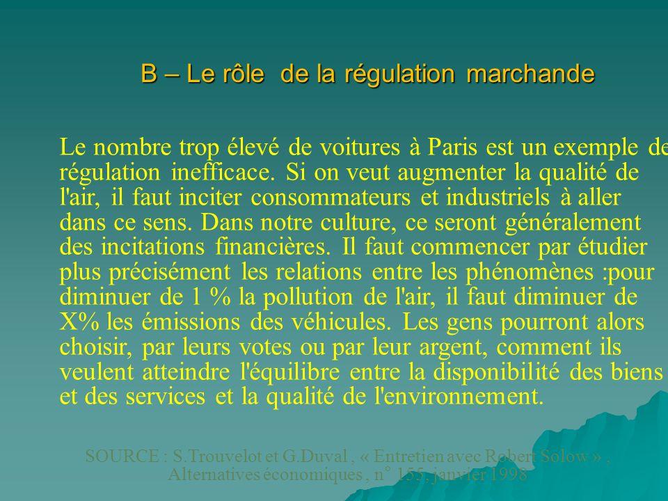 B – Le rôle de la régulation marchande