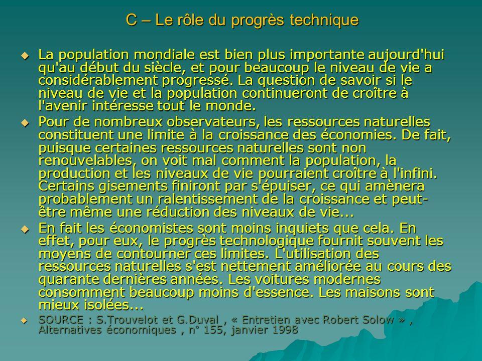 C – Le rôle du progrès technique