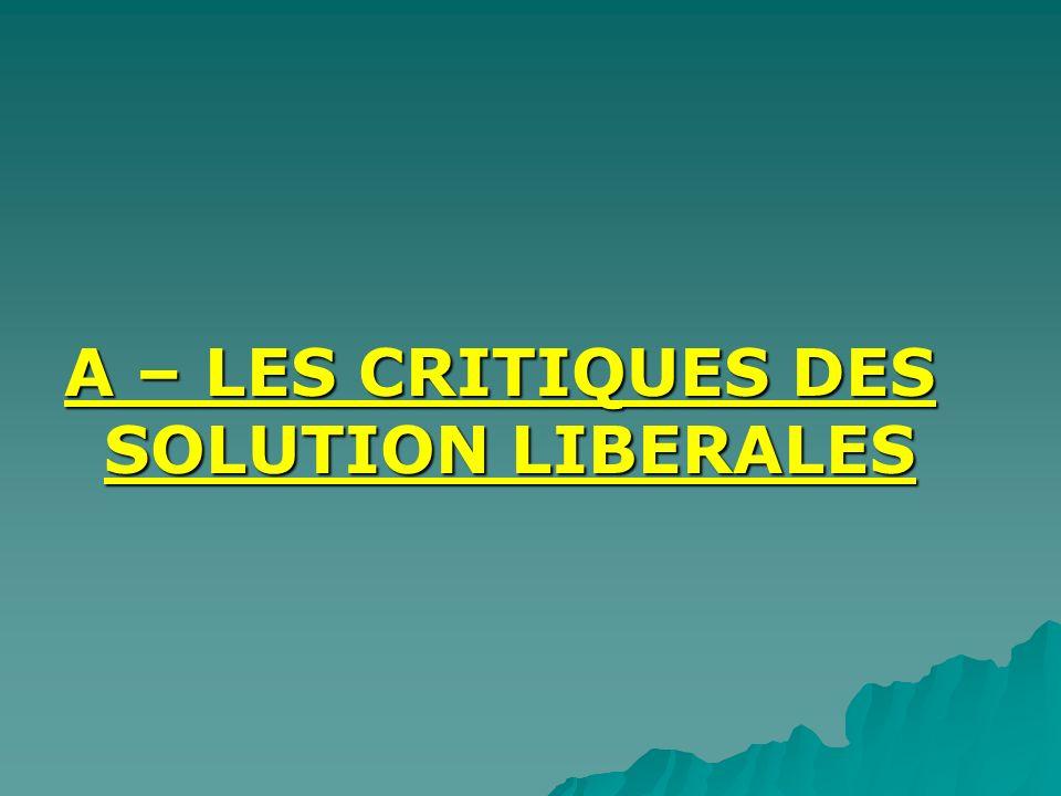 A – LES CRITIQUES DES SOLUTION LIBERALES