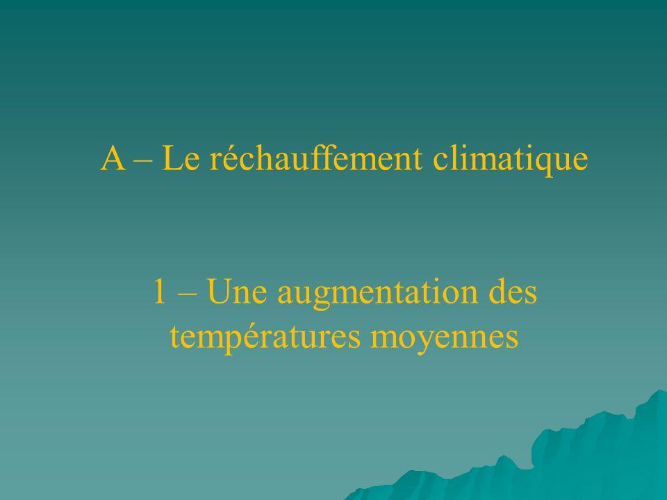 A – Le réchauffement climatique