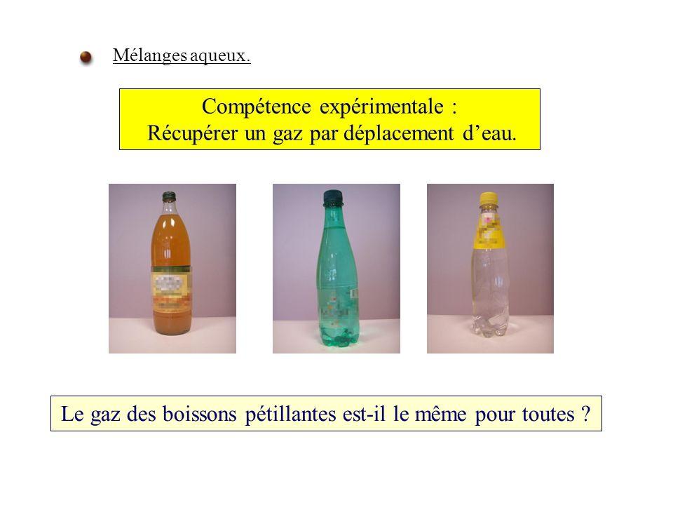 Compétence expérimentale : Récupérer un gaz par déplacement d'eau.