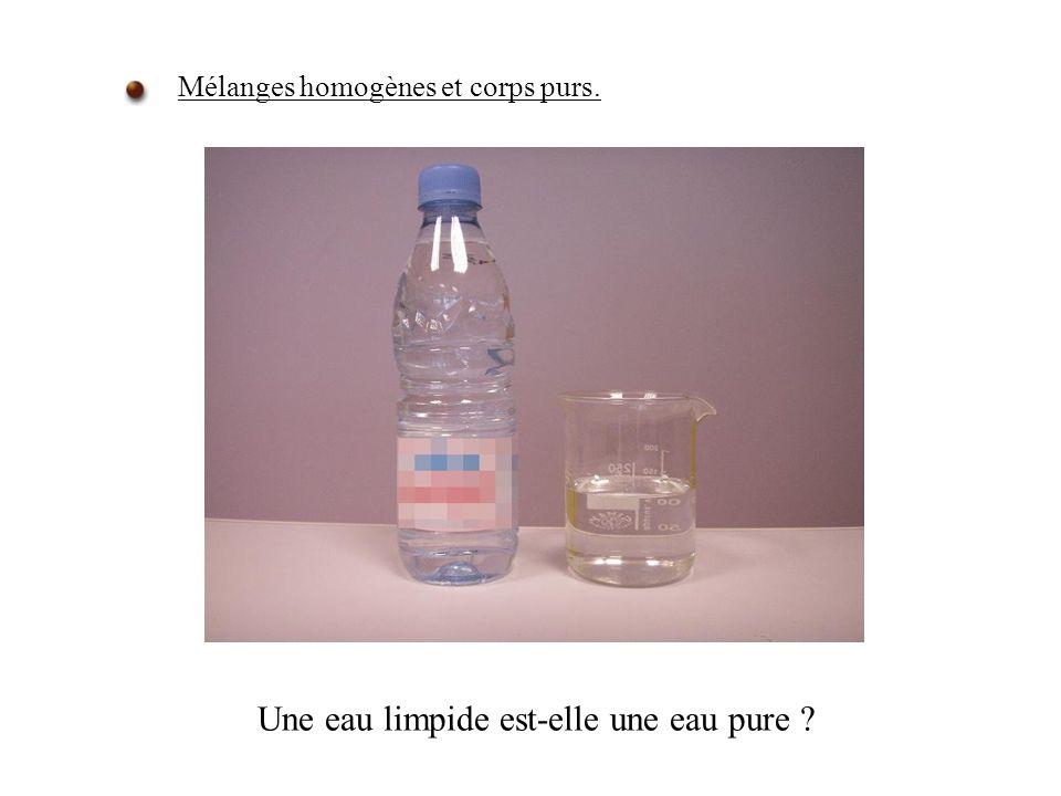 Une eau limpide est-elle une eau pure