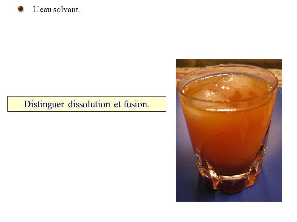 Distinguer dissolution et fusion.