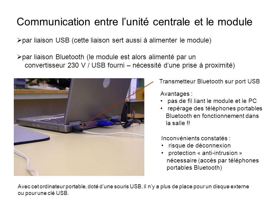 Communication entre l'unité centrale et le module