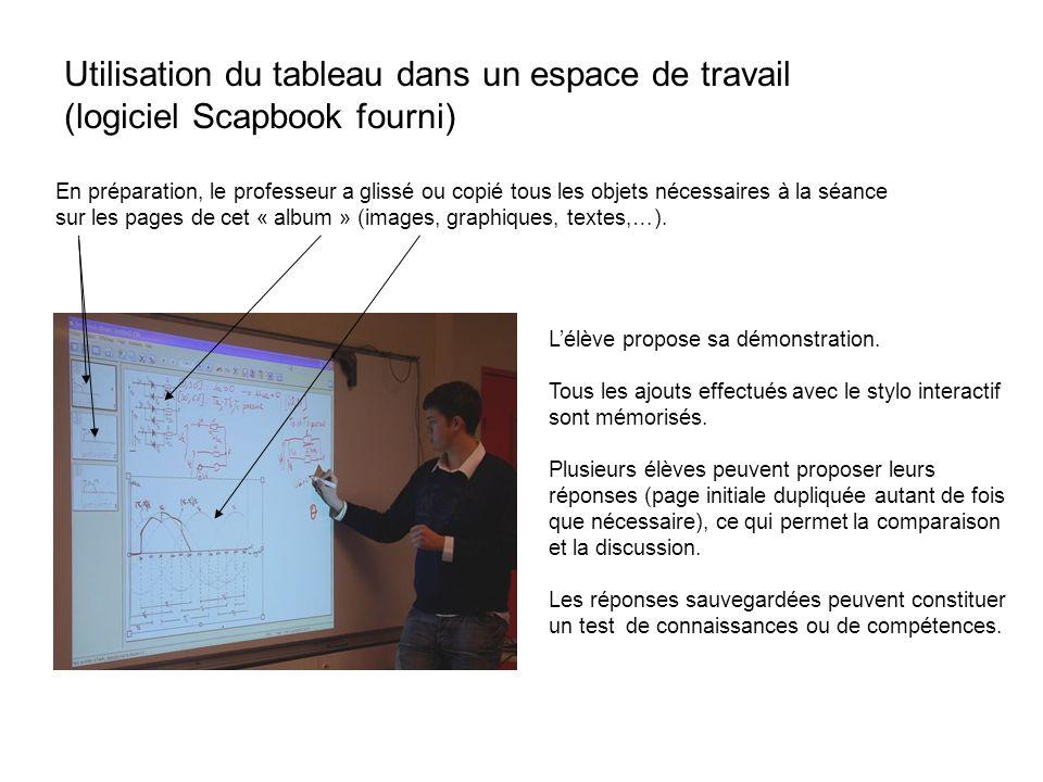 Utilisation du tableau dans un espace de travail (logiciel Scapbook fourni)