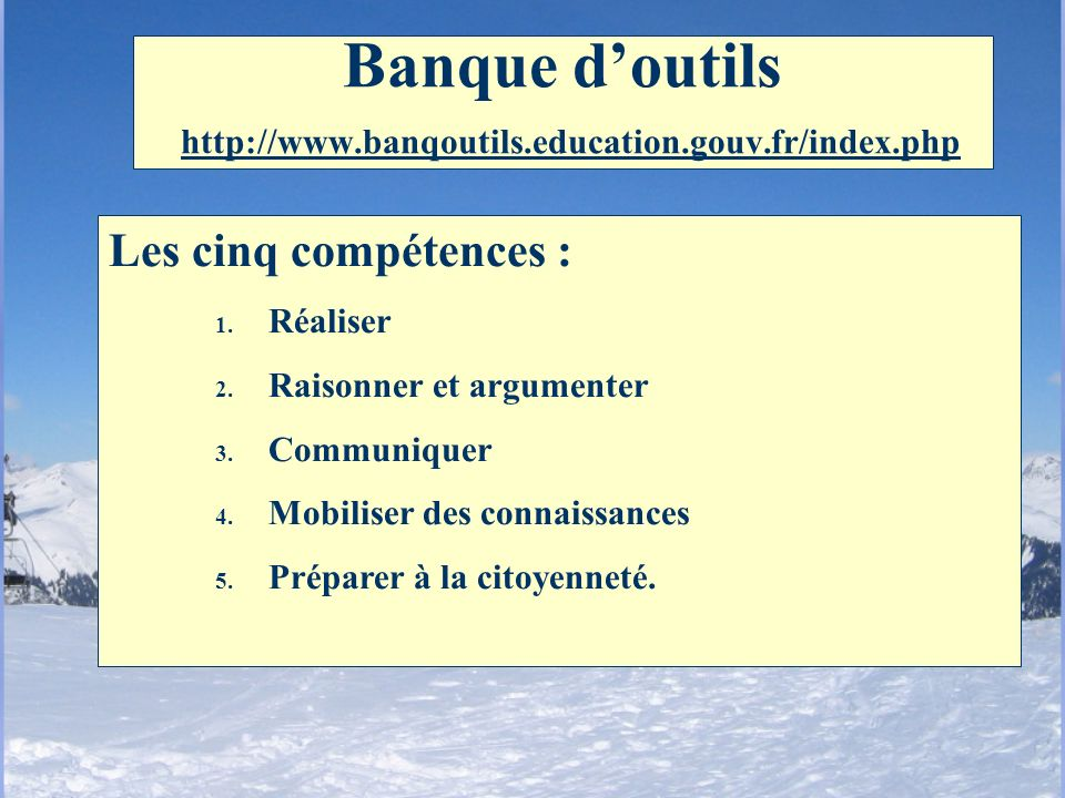 Banque d'outils http://www.banqoutils.education.gouv.fr/index.php
