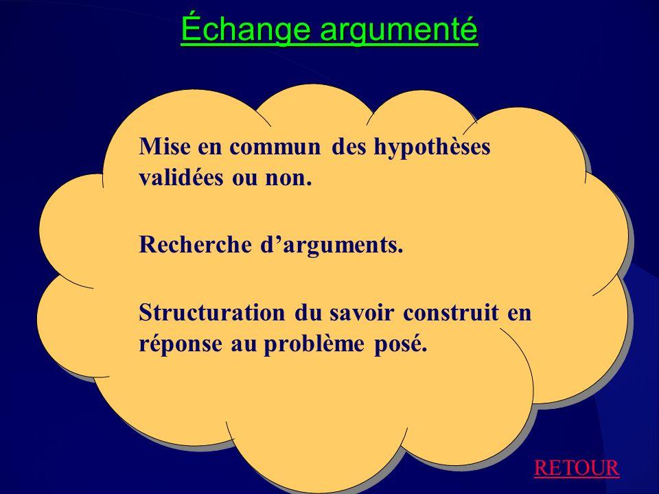 Échange argumenté Mise en commun des hypothèses validées ou non.