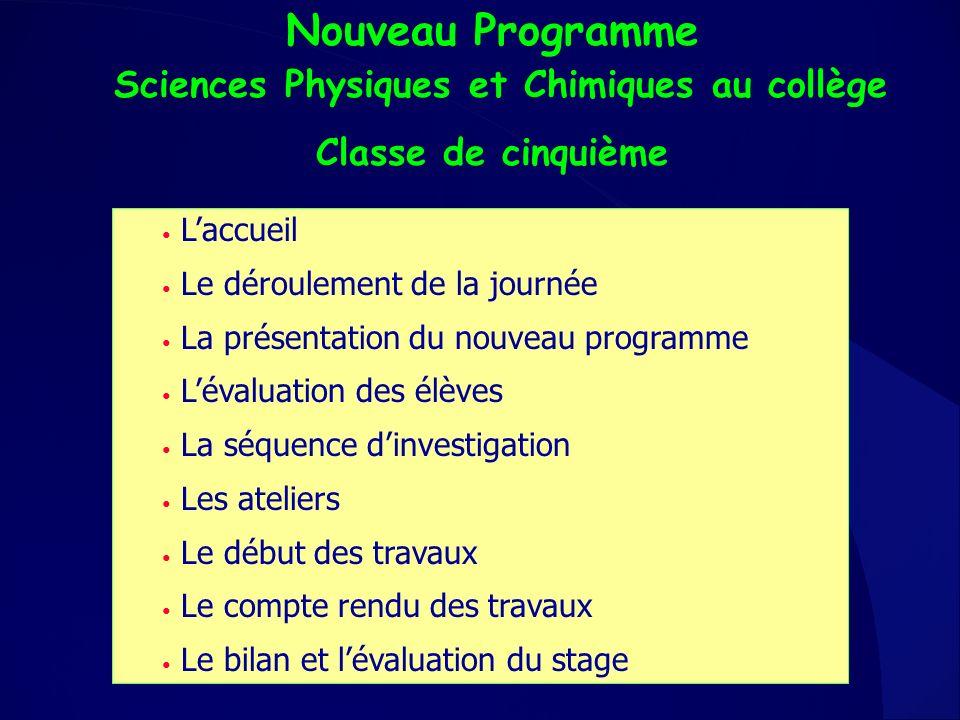 Nouveau Programme Sciences Physiques et Chimiques au collège