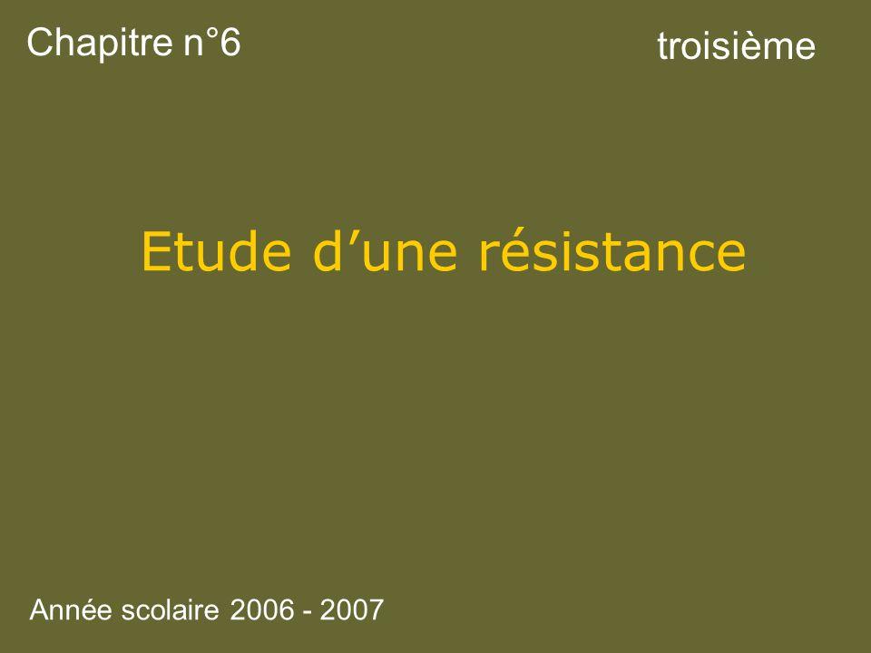 Etude d'une résistance