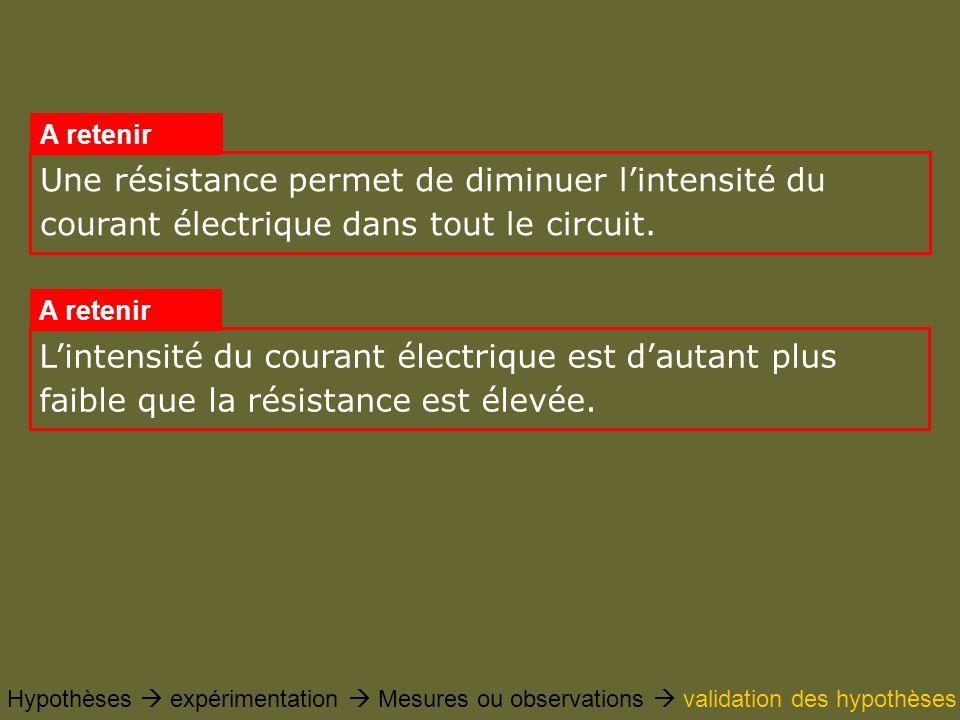 Une résistance permet de diminuer l'intensité du courant électrique dans tout le circuit.
