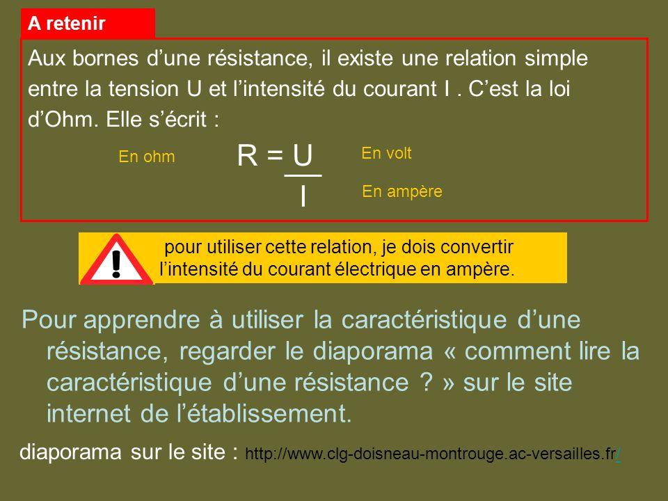 Aux bornes d'une résistance, il existe une relation simple entre la tension U et l'intensité du courant I . C'est la loi d'Ohm. Elle s'écrit :