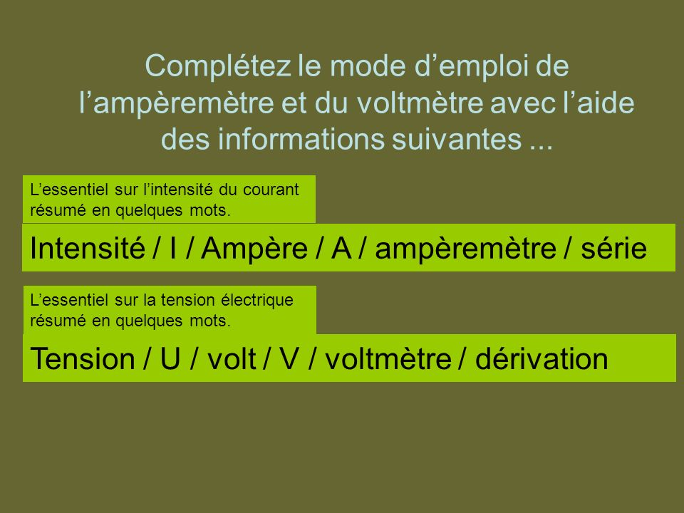 Intensité / I / Ampère / A / ampèremètre / série
