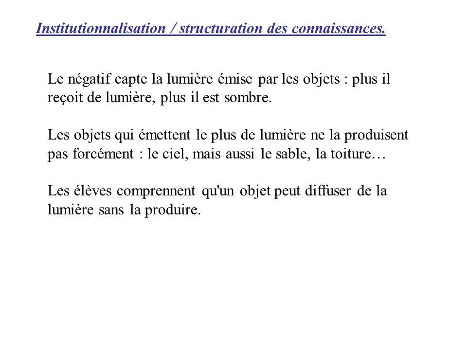 Institutionnalisation / structuration des connaissances.