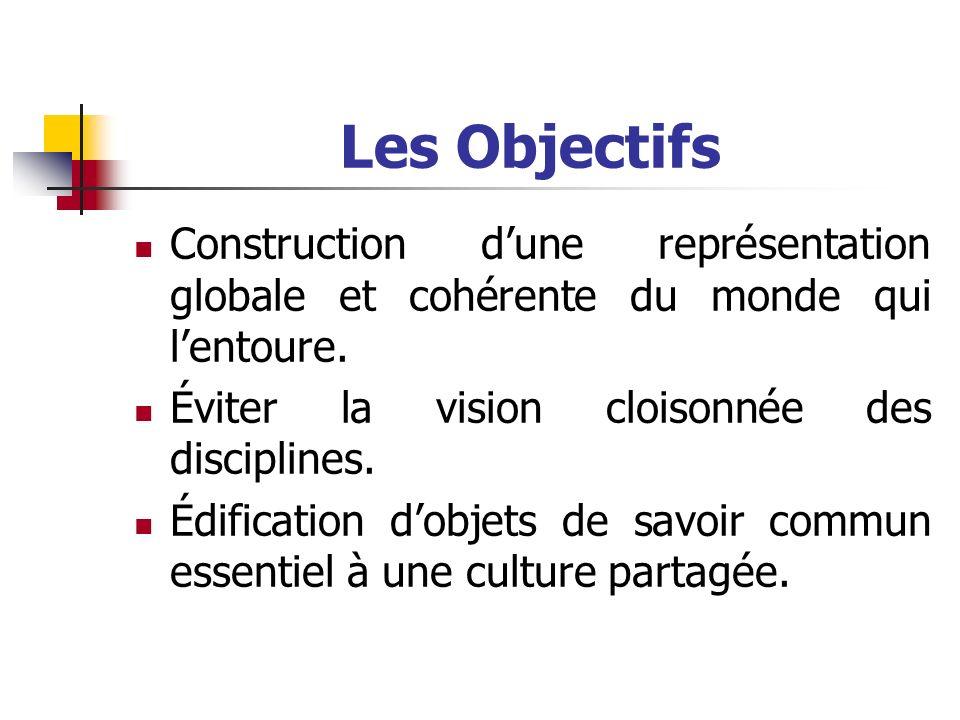 Les Objectifs Construction d'une représentation globale et cohérente du monde qui l'entoure. Éviter la vision cloisonnée des disciplines.