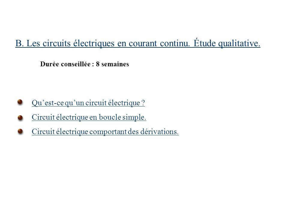 B. Les circuits électriques en courant continu. Étude qualitative.