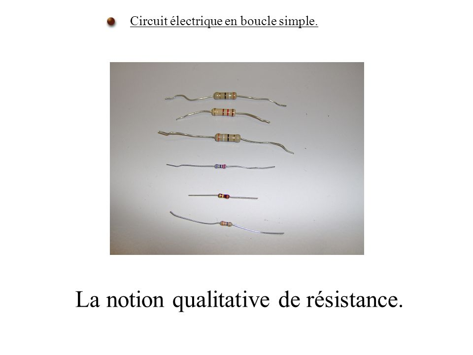 La notion qualitative de résistance.