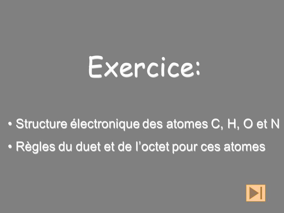 Exercice: Structure électronique des atomes C, H, O et N