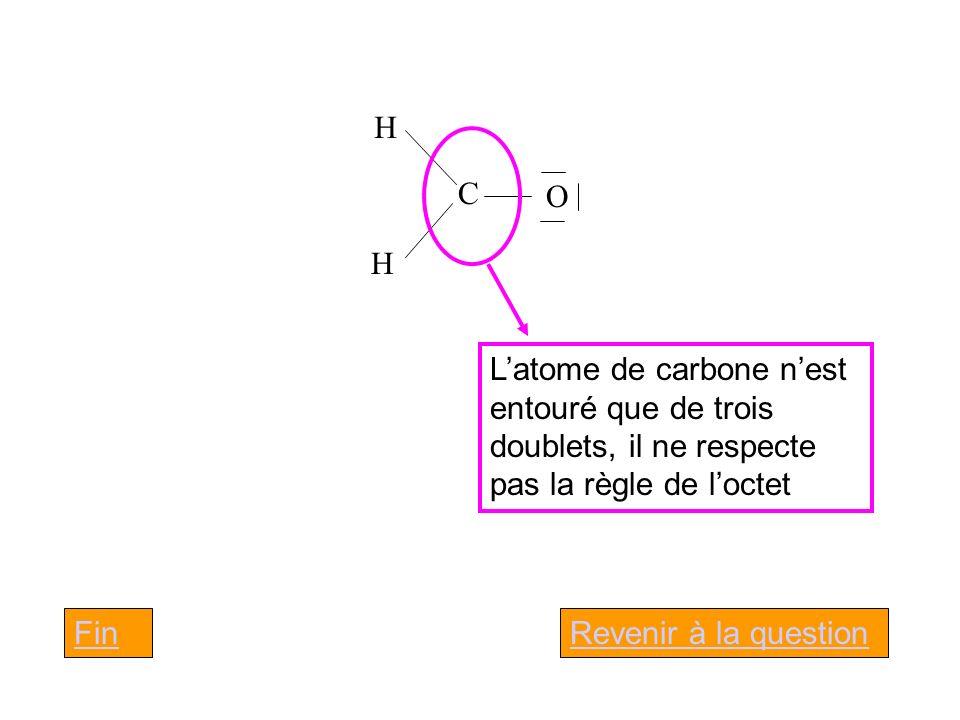 C H. O. L'atome de carbone n'est entouré que de trois doublets, il ne respecte pas la règle de l'octet.