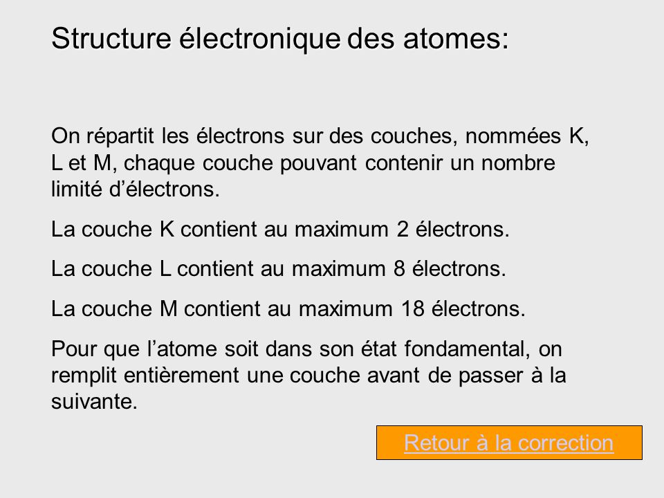 Structure électronique des atomes: