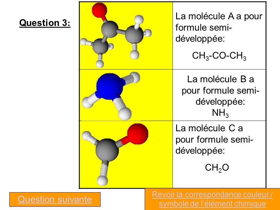 La molécule A a pour formule semi-développée: