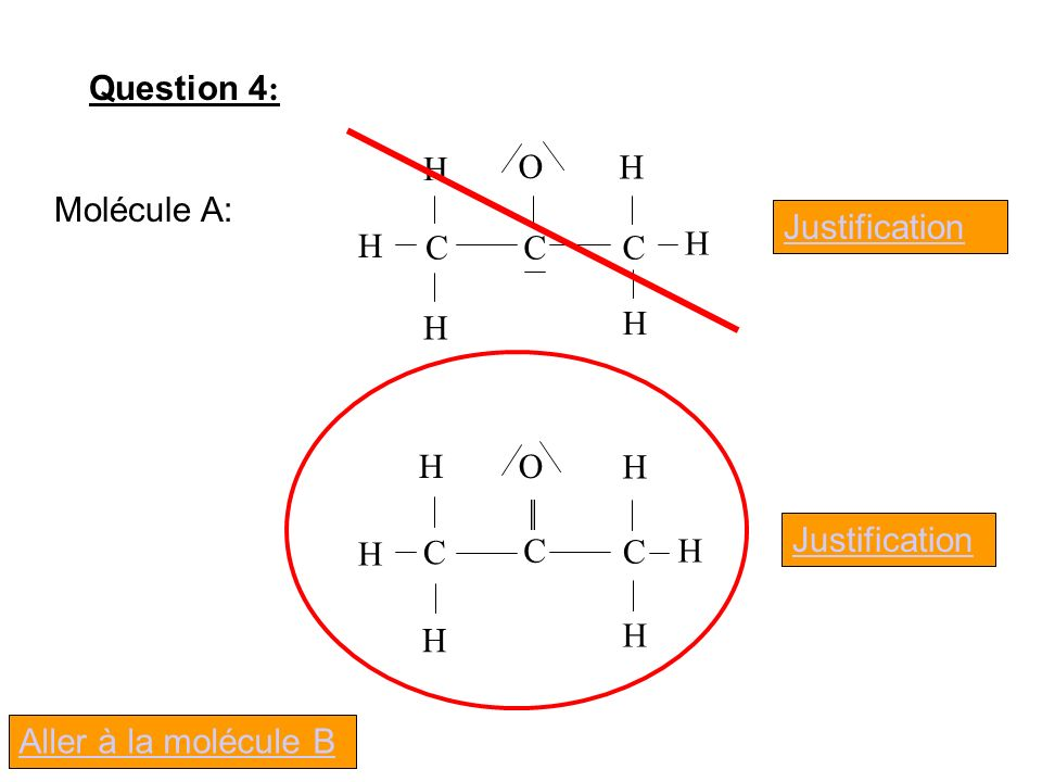 Question 4: O C H Molécule A: Justification O C H Justification Aller à la molécule B