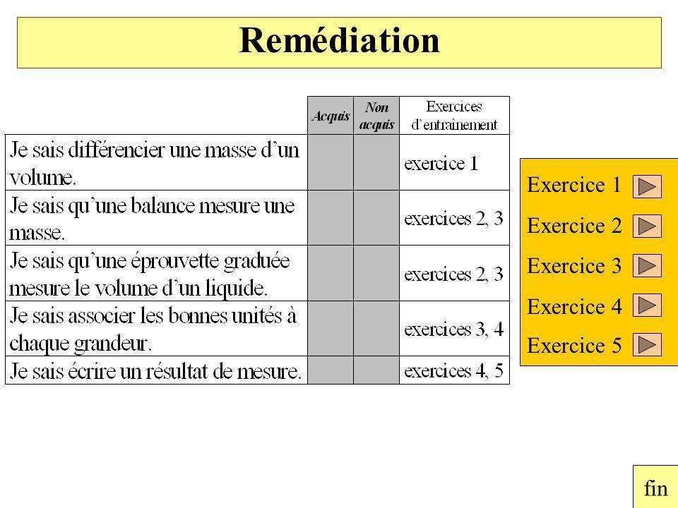 Remédiation Exercice 1 Exercice 2 Exercice 3 Exercice 4 Exercice 5 fin