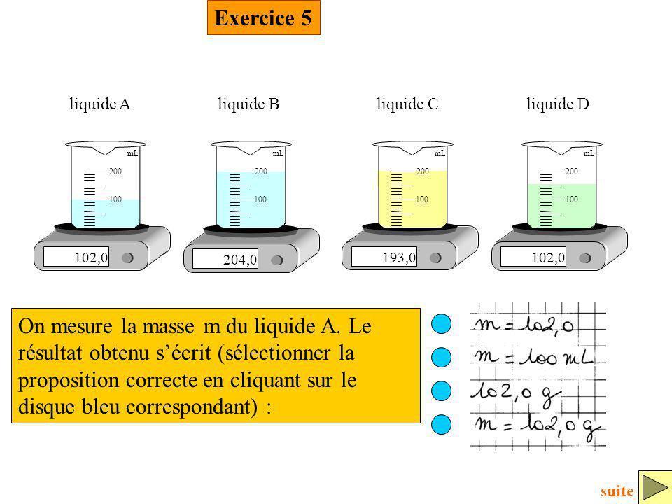 Exercice 5 102,0. 100. 200. mL. liquide A. 204,0. liquide B. 193,0. liquide C. liquide D.