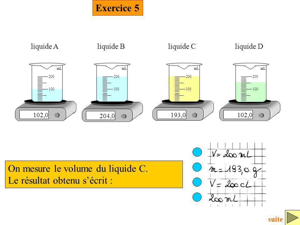 On mesure le volume du liquide C. Le résultat obtenu s'écrit :