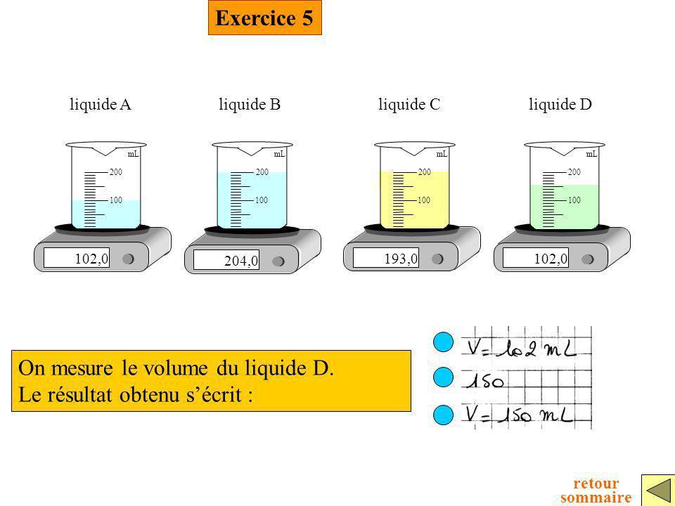 On mesure le volume du liquide D. Le résultat obtenu s'écrit :