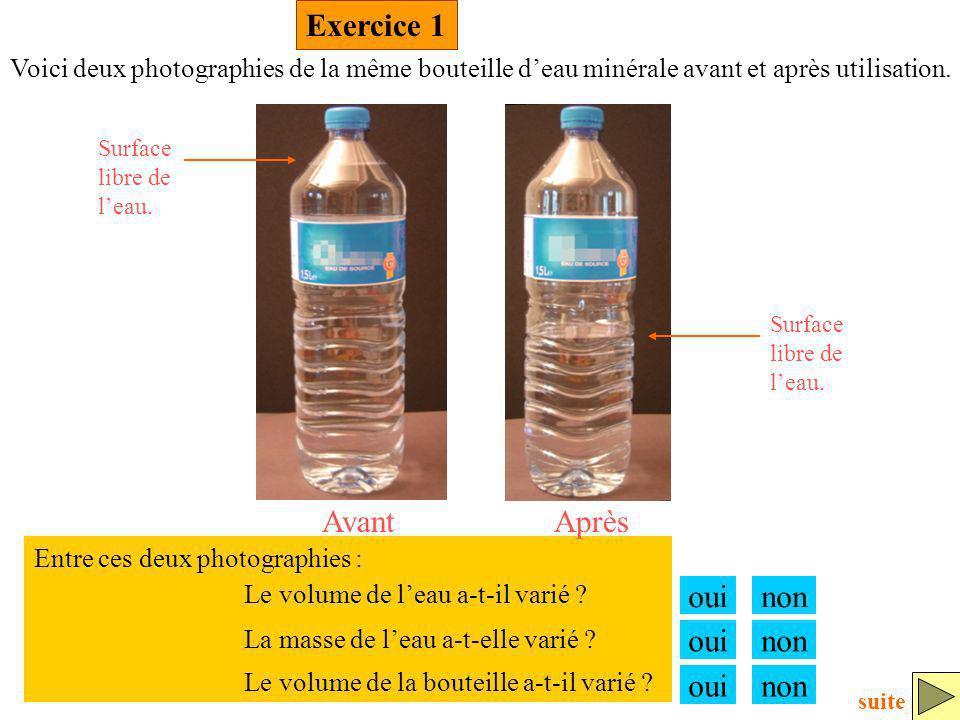 Exercice 1 Avant Après oui non oui non oui non