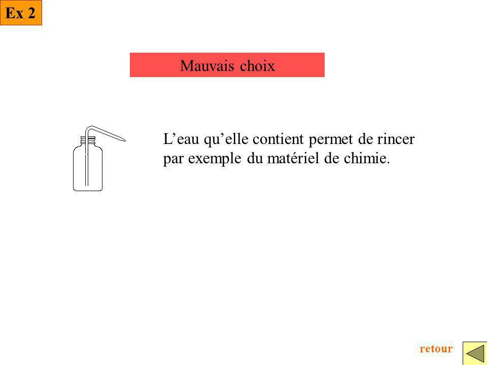 Ex 2 Mauvais choix. L'eau qu'elle contient permet de rincer par exemple du matériel de chimie.