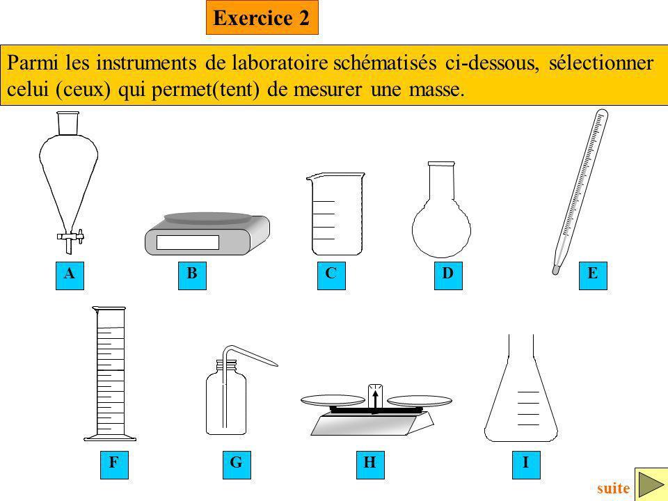 Exercice 2 Parmi les instruments de laboratoire schématisés ci-dessous, sélectionner celui (ceux) qui permet(tent) de mesurer une masse.