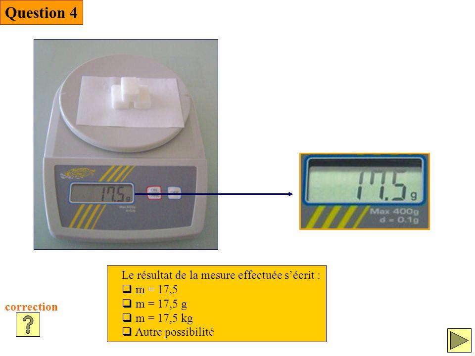 Question 4 Le résultat de la mesure effectuée s'écrit : m = 17,5