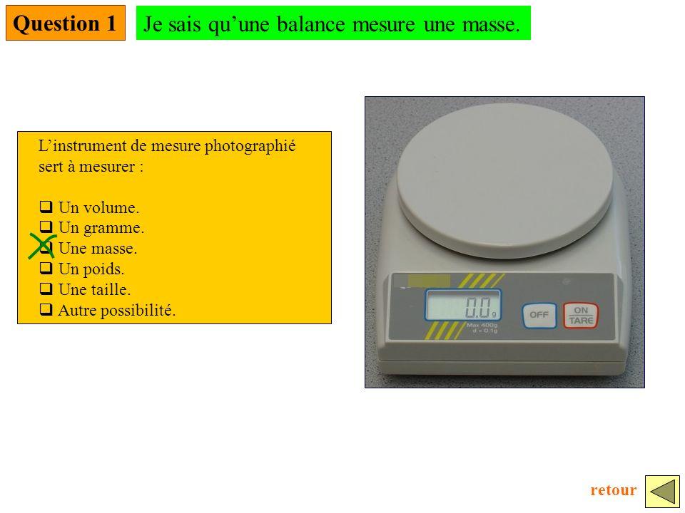 Je sais qu'une balance mesure une masse.