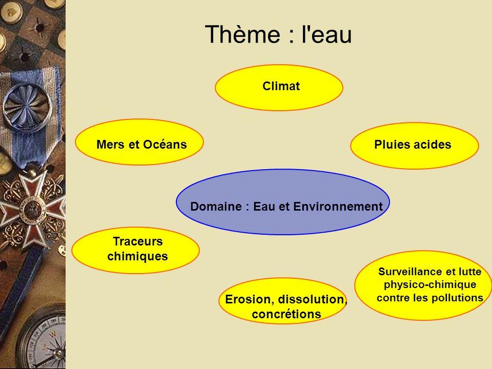 Thème : l eau Domaine : Eau et Environnement Mers et Océans
