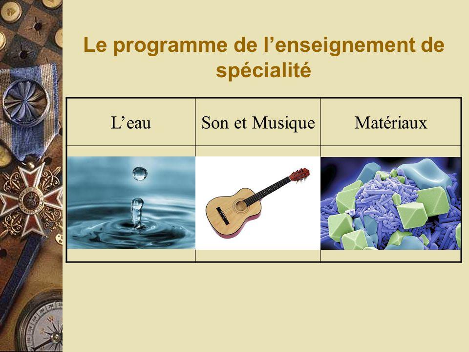 Le programme de l'enseignement de spécialité