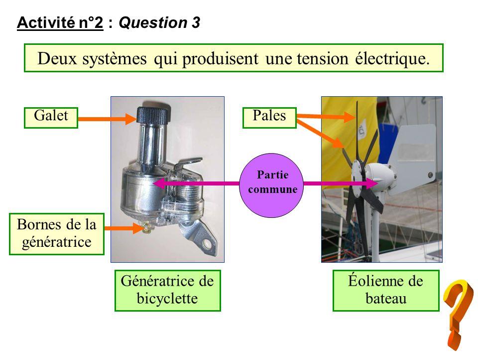 Deux systèmes qui produisent une tension électrique.