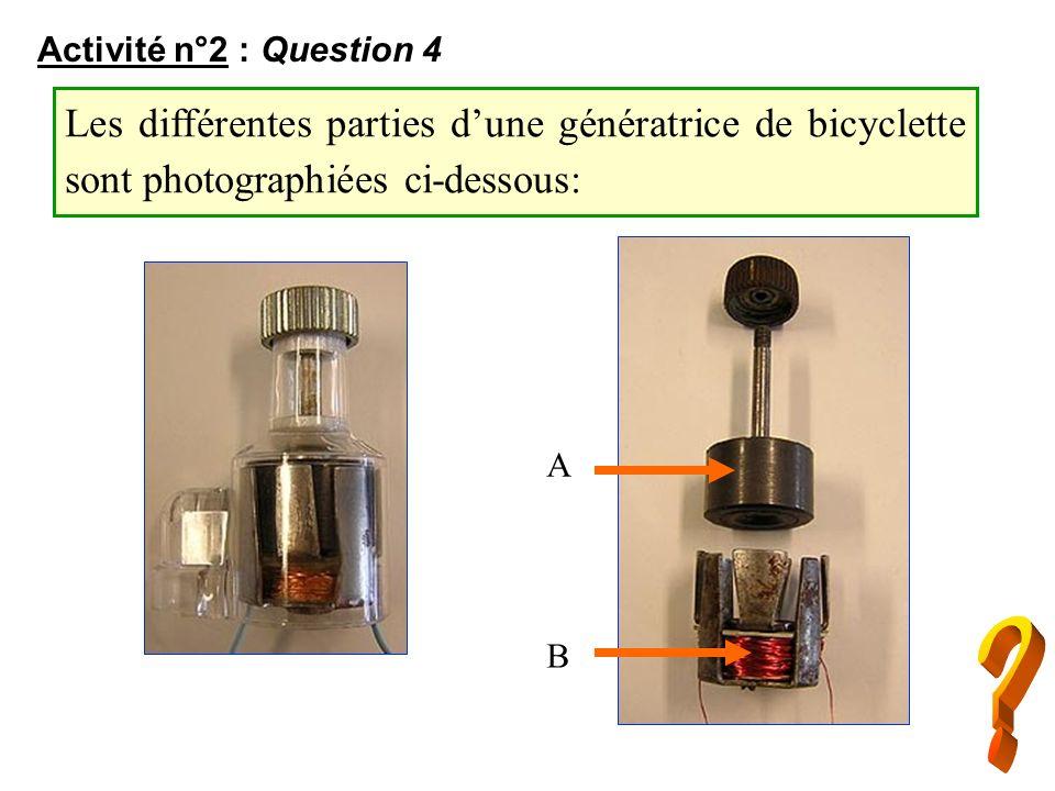 Activité n°2 : Question 4 Les différentes parties d'une génératrice de bicyclette sont photographiées ci-dessous: