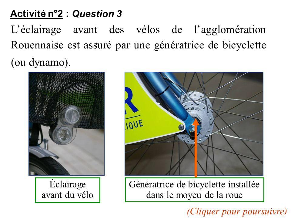 Activité n°2 : Question 3 L'éclairage avant des vélos de l'agglomération Rouennaise est assuré par une génératrice de bicyclette (ou dynamo).