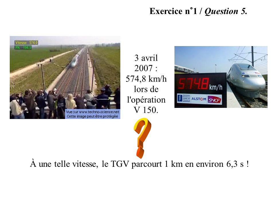 Exercice n°1 / Question 5. 3 avril 2007 : 574,8 km/h lors de