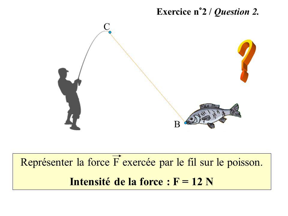 Intensité de la force : F = 12 N