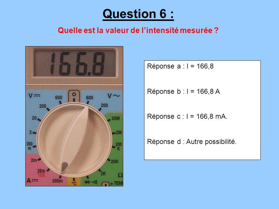Quelle est la valeur de l'intensité mesurée