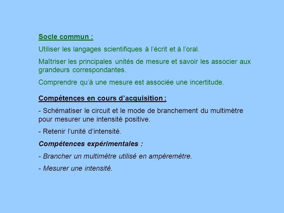 Socle commun :Utiliser les langages scientifiques à l'écrit et à l'oral.