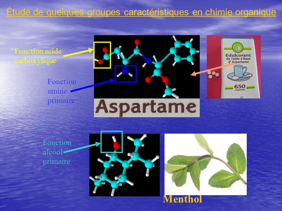 Étude de quelques groupes caractéristiques en chimie organique