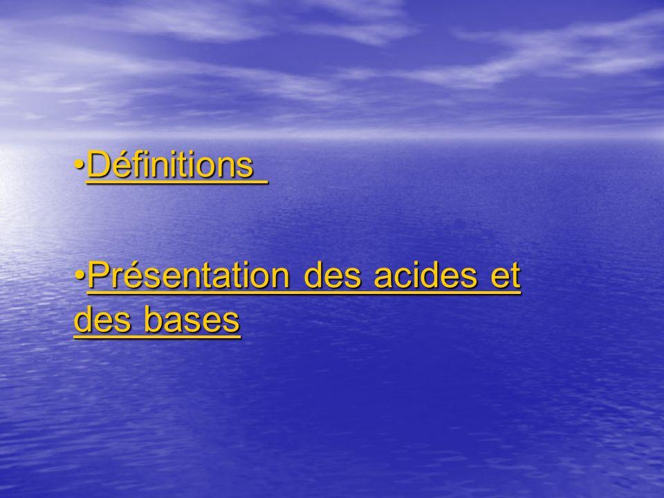 Définitions Présentation des acides et des bases