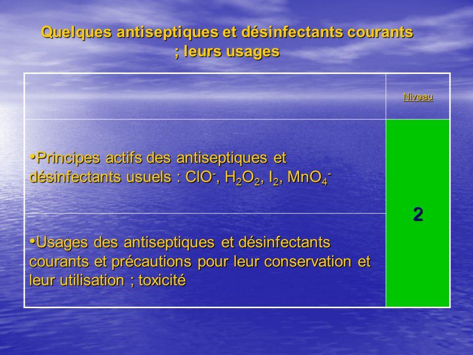 Quelques antiseptiques et désinfectants courants ; leurs usages