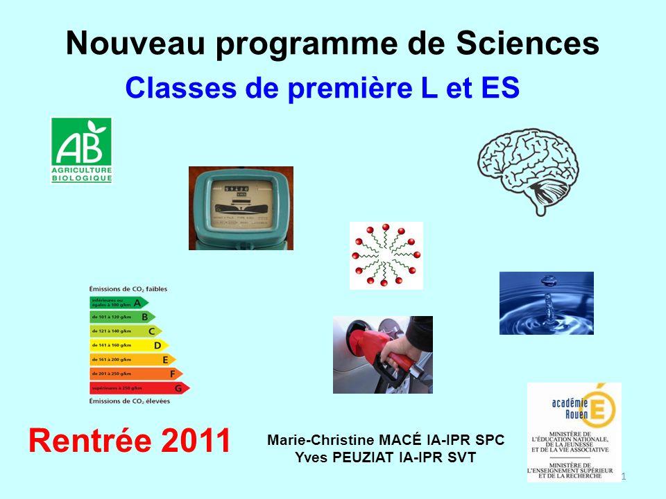 Nouveau programme de Sciences